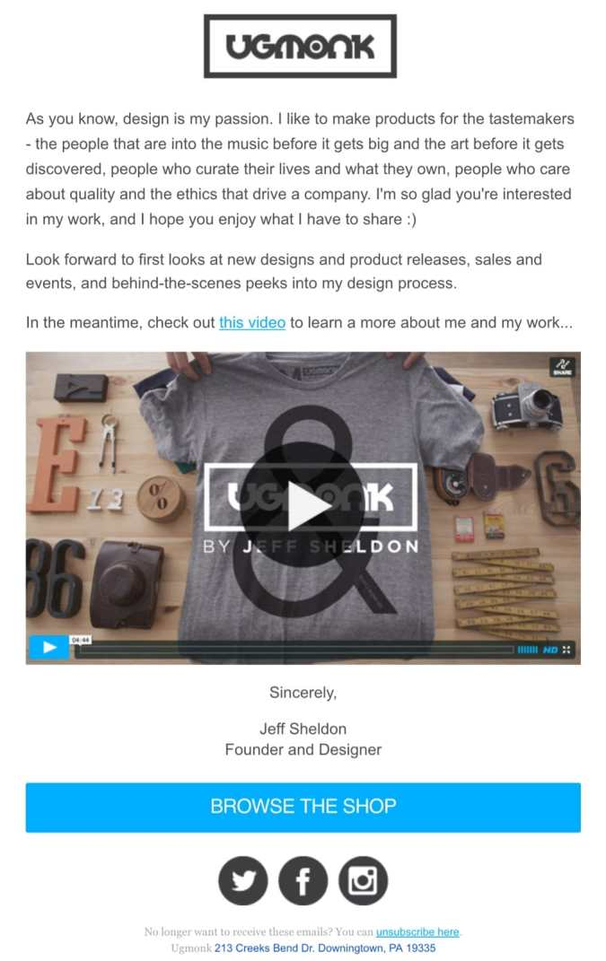 welcome email example ugmonk