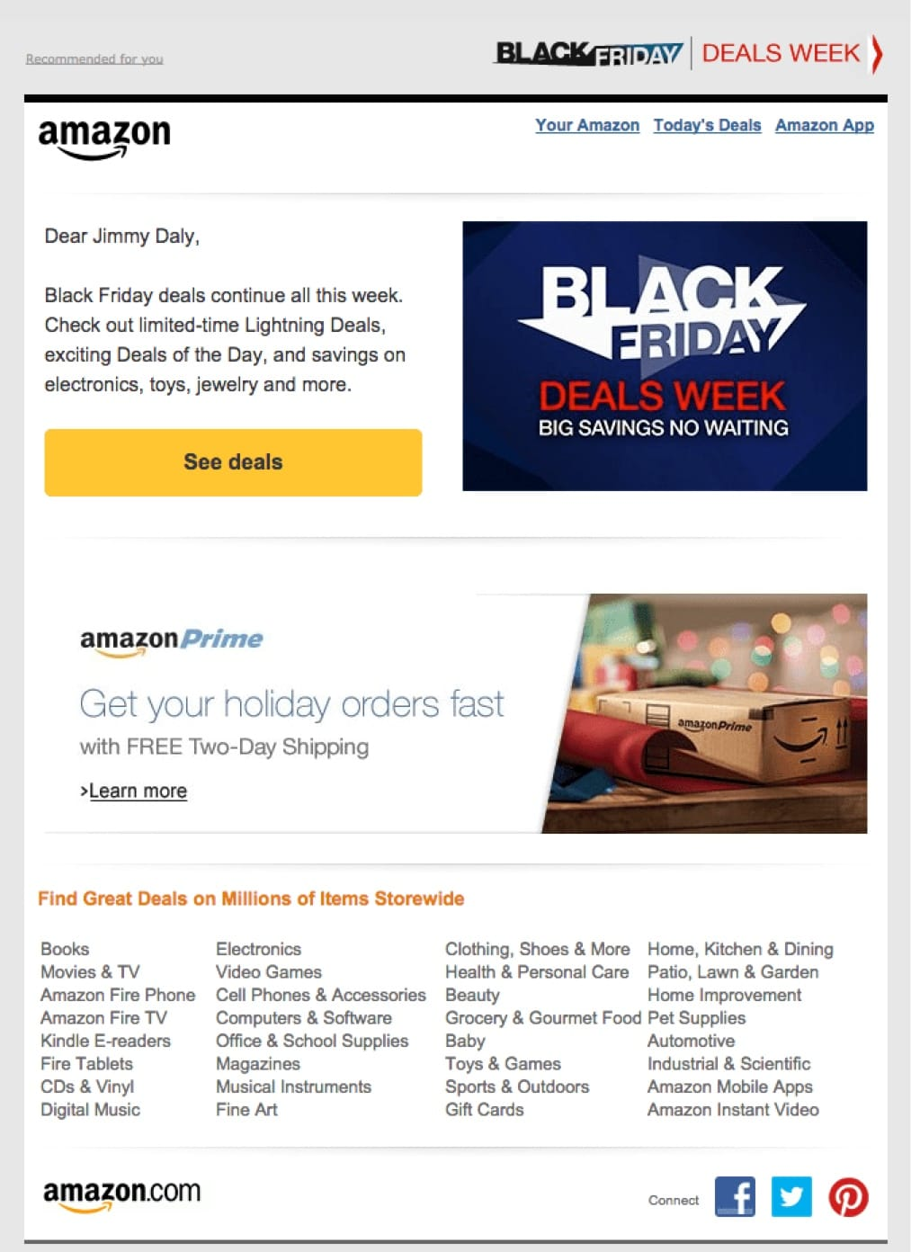 promotional email example amazon (holiday offer)