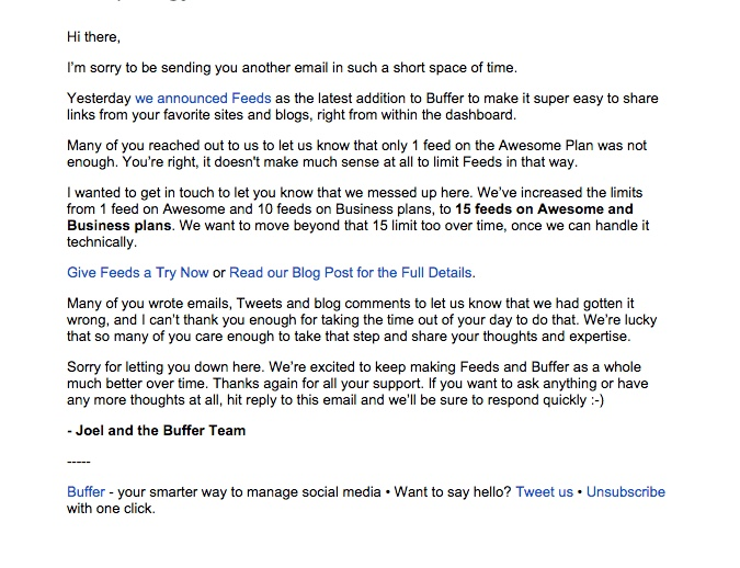 promotional email example buffer (apology email)