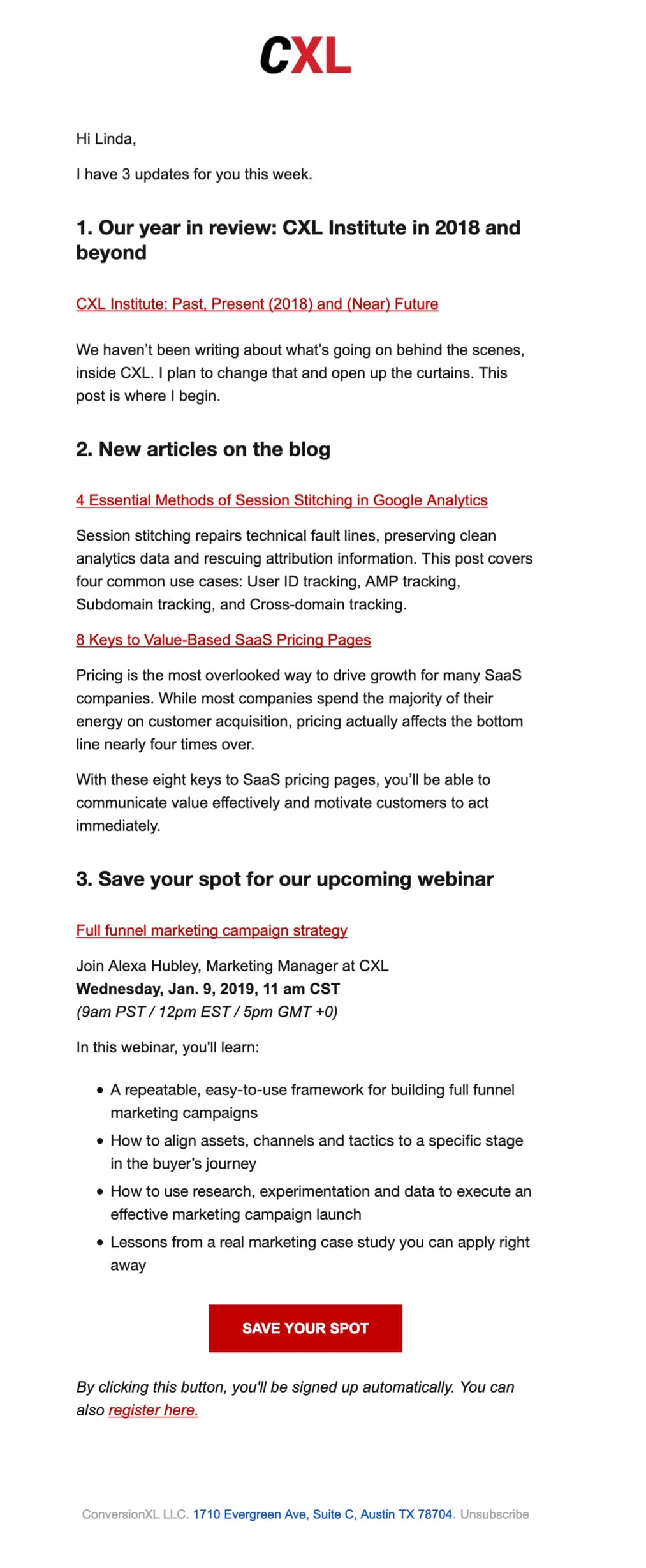 promotional email example conversionXL (event announcement)