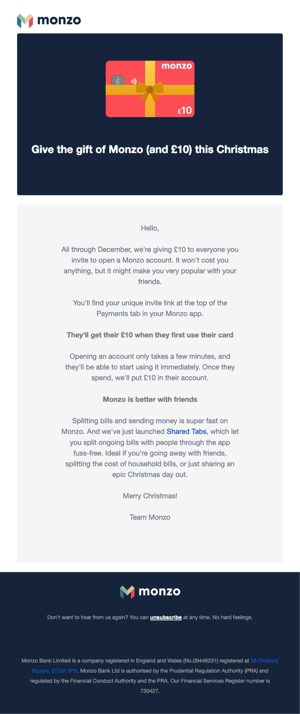 promotional email example monzo (holiday offer)