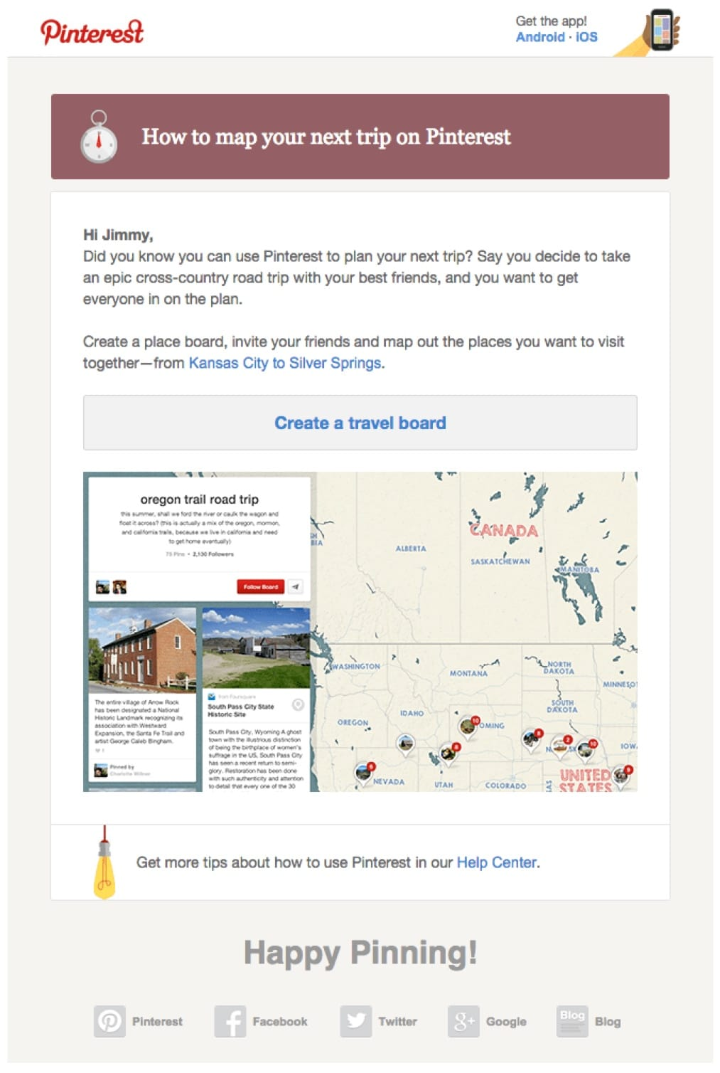promotional email example pinterest (did you know email)