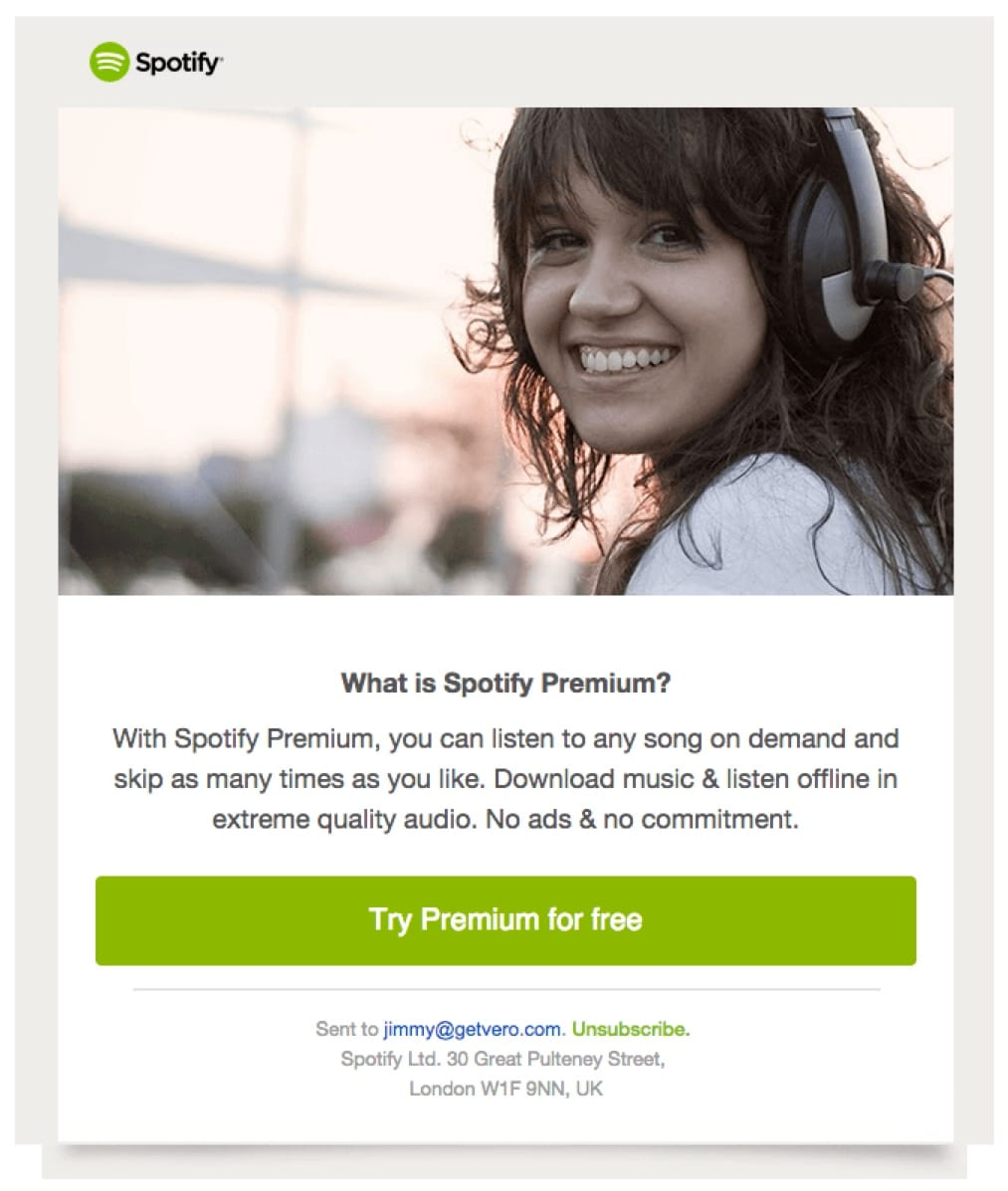 promotional email example spotify (upgrade email)