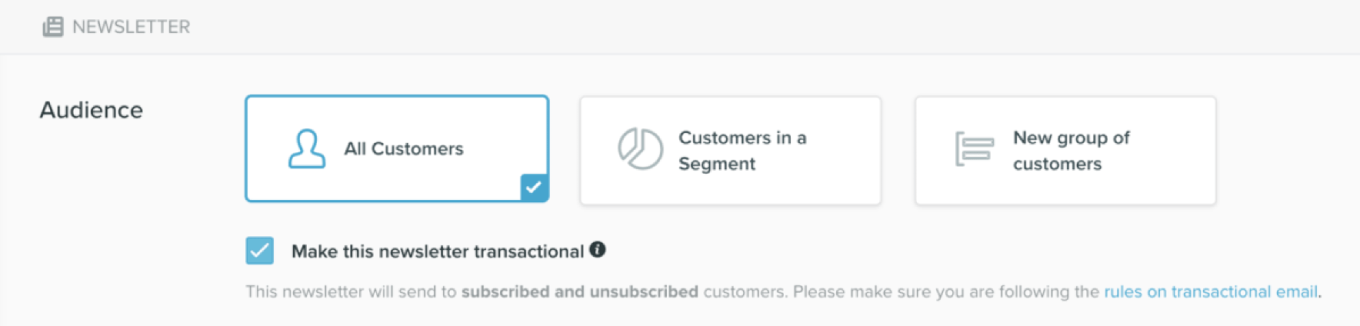 Transactional email newsletters