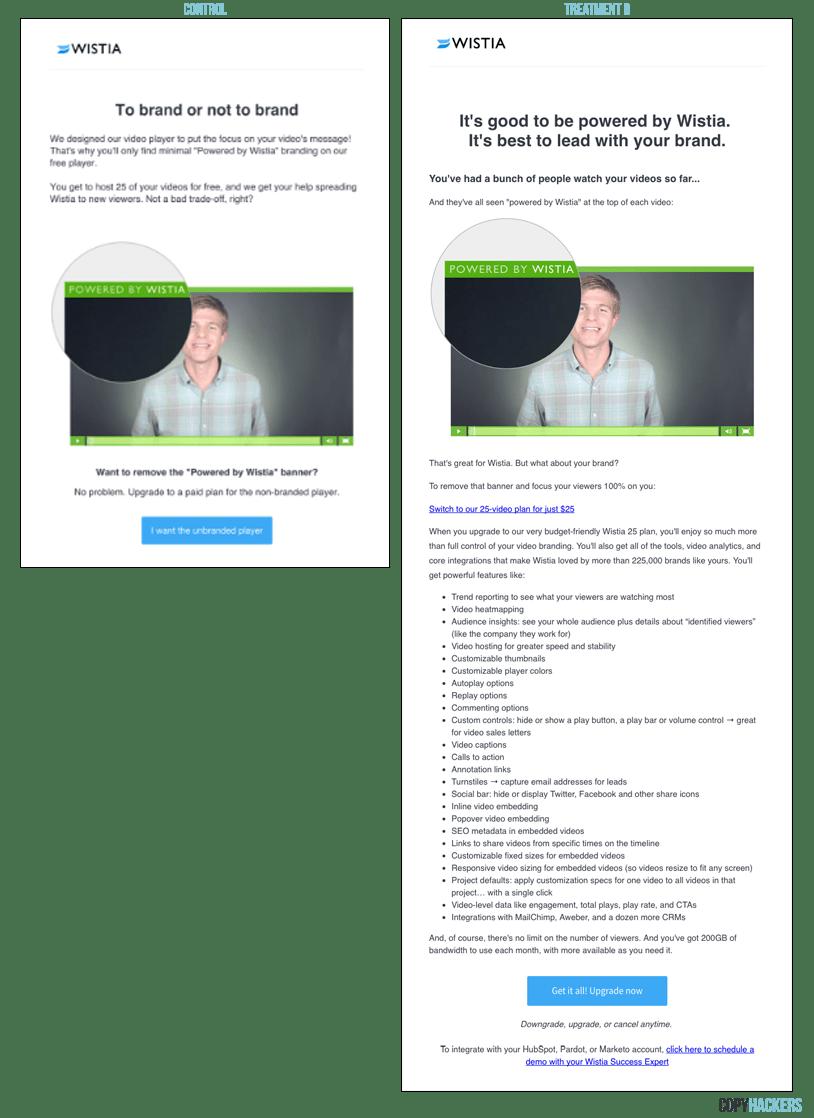 Wistia customer onboarding email A/B Test