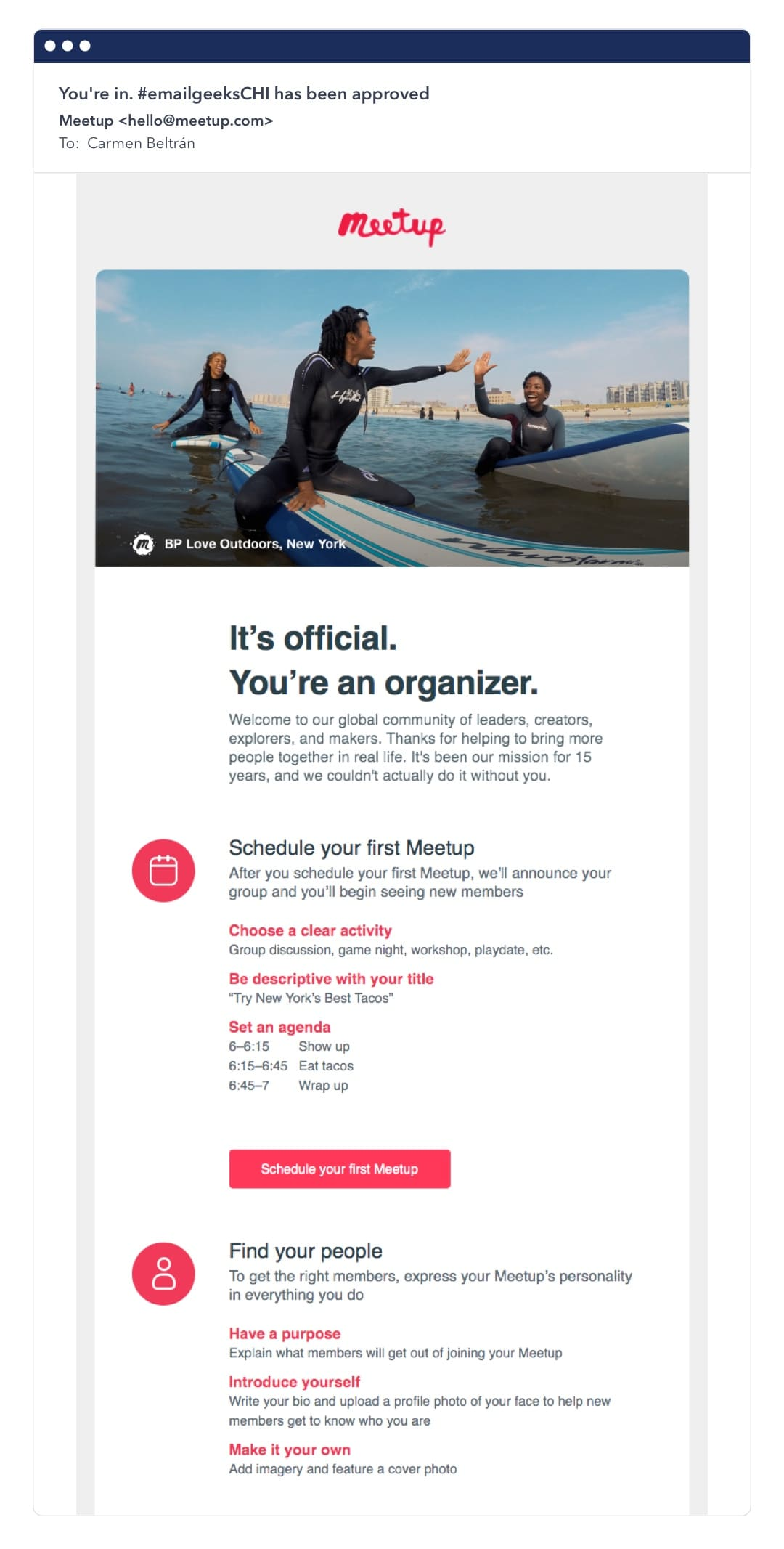 Meetup email