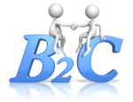 bubble figures shaking hands while sitting atop blue letters B2C (business to customer)