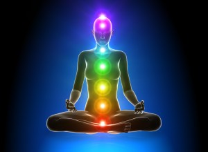 figure in meditation showing chakras