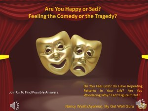 Theatrical masks happy sad