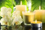 spa still life with candles and orchids