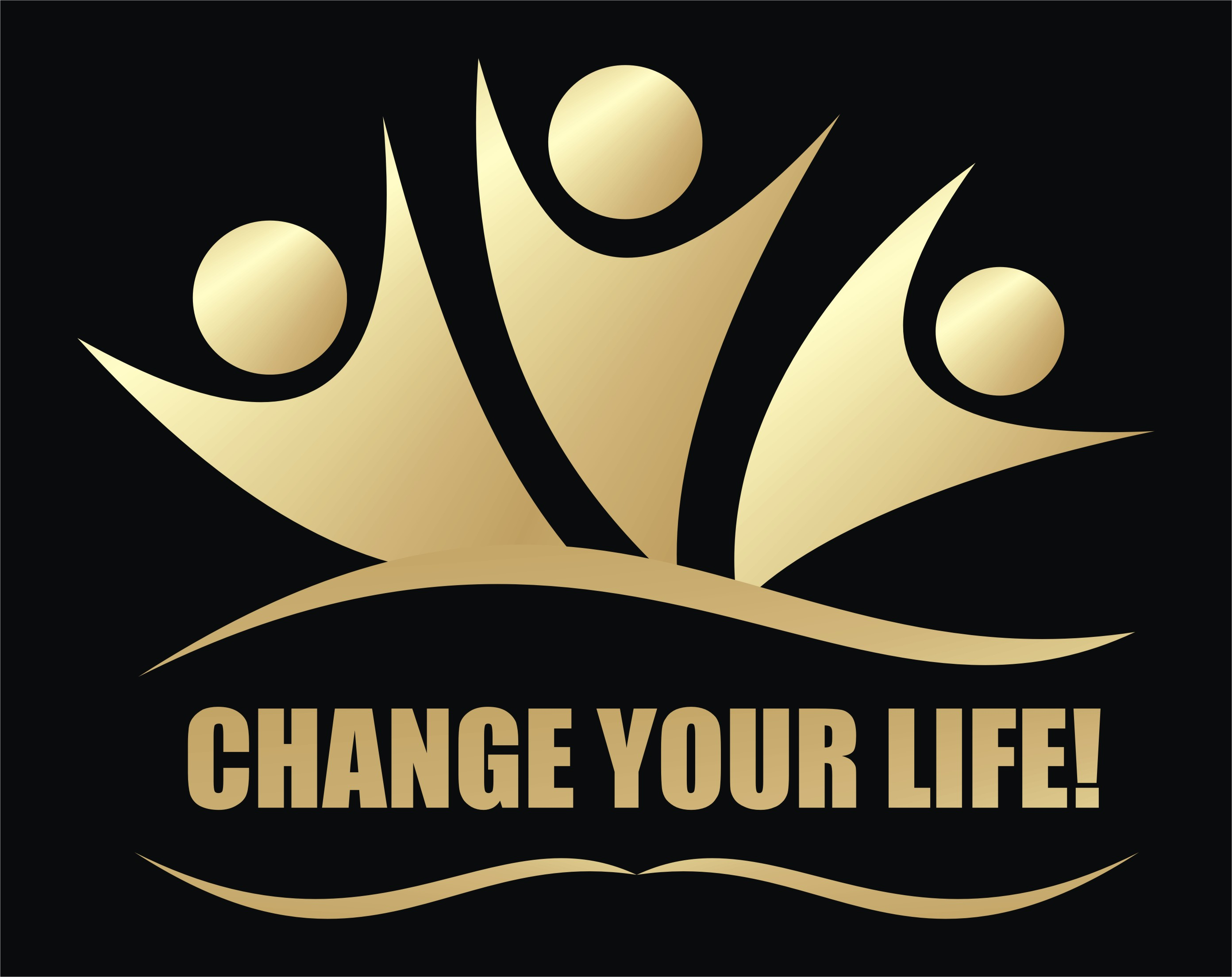Change Your Life Logo told letters with 3 happy figures reaching up in celebration