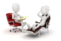 figures of a life coach in a chair counseling a client