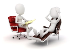 figures of a counselor in a chair counseling a client