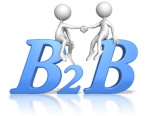 2 figures shaking hands over the letters B 2 B (business to business)