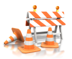 cones and barricades for construction site