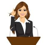 illustration of female speaker at podium