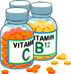 illustration of vitamins c and B12 in a bottle