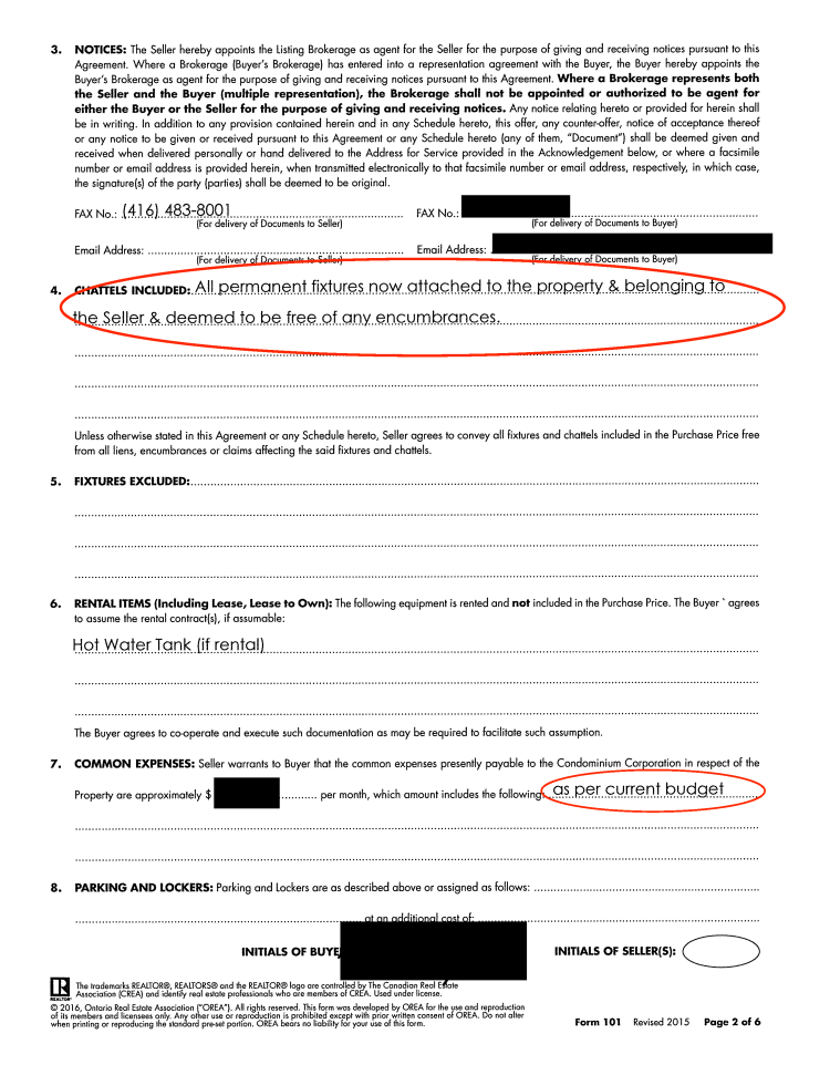 Sloppy real estate offer paperwork page 2