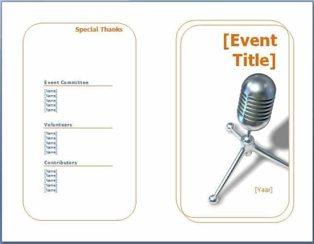 Event Program Templates image e3r