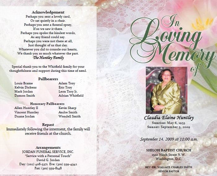 Funeral Program Image 1  Free Printable Memorial Service Programs