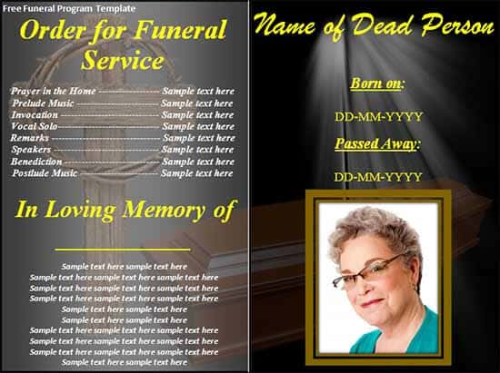 8 Free Funeral program Templates Word Excel PDF Formats – Printable Funeral Program Templates