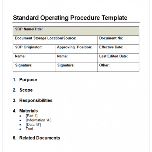 9 standard operating procedure sop templates word for It policy and procedures template