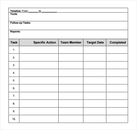 timeline action plan template