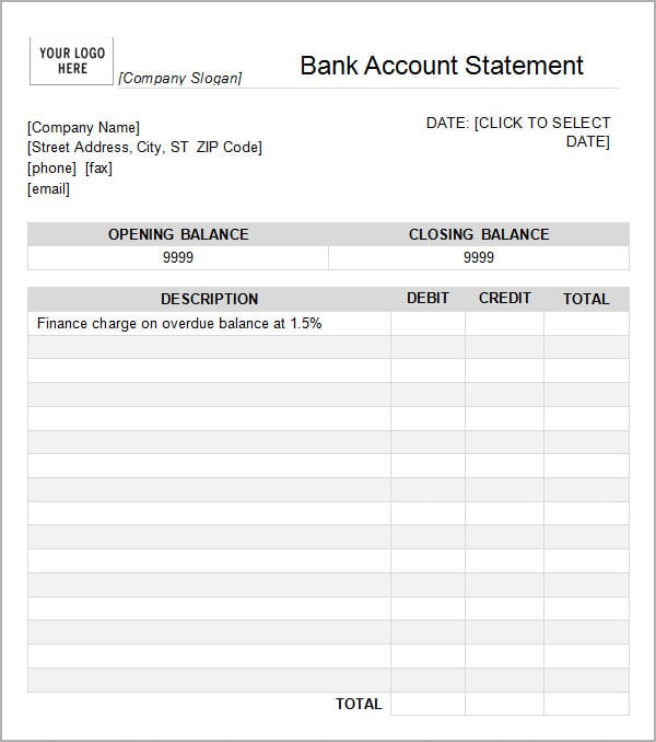 7 Bank Statement Templates Word Excel Pdf Formats