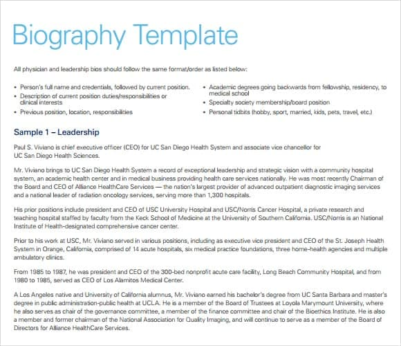 10 biography templates word excel pdf formats for Army board bio template