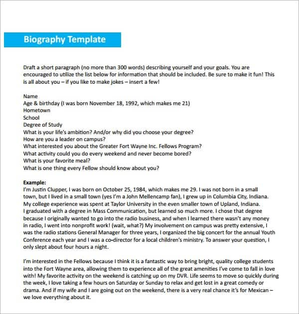 Biography Templates  Word Excel Pdf Formats