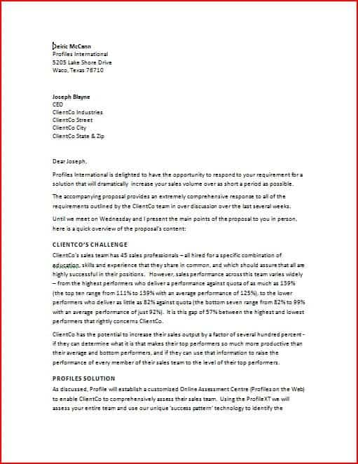 Business Proposal Sample Letters  Word Excel Pdf Formats