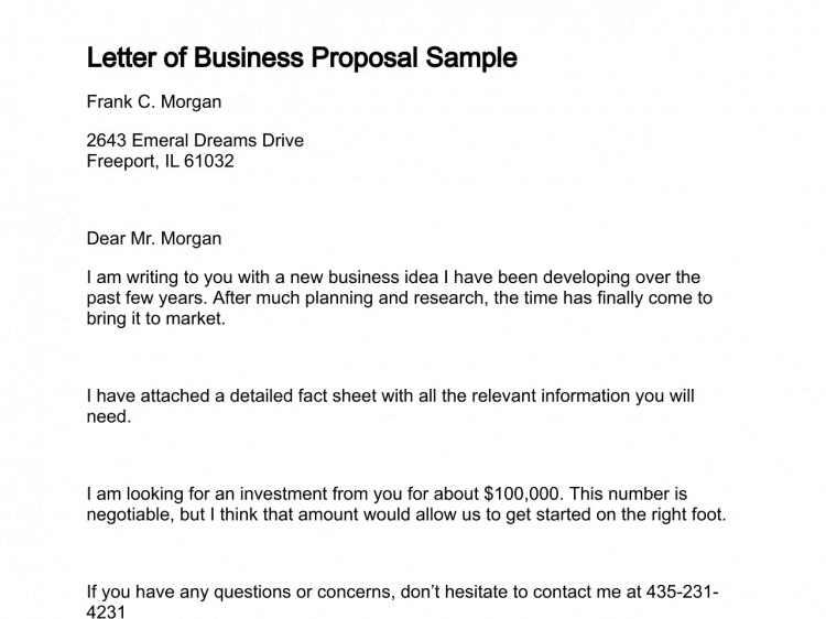 12 Business Proposal Sample Letters