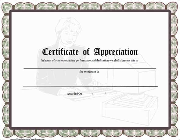 Certificate Of Appreciation Word Template - Neptun