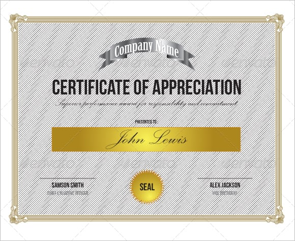 10 certificate of appreciation templates word excel pdf formats certificate of appreciation sample yadclub Gallery