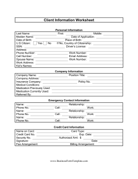 new customer information form template