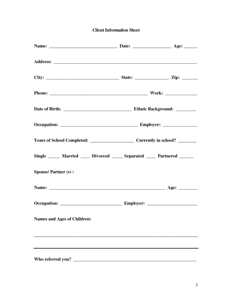 8+ Client Information Sheet Templates