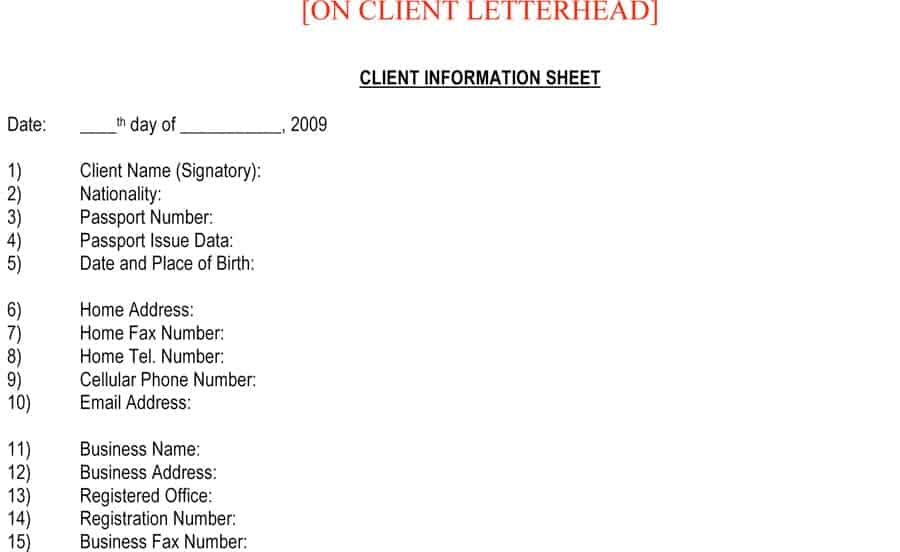 Client Information Sheet Template 7  New Business Client Information Template