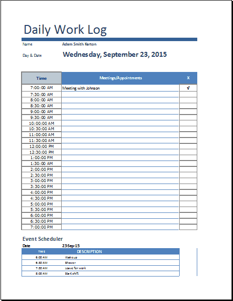 8 daily work log templates word excel pdf formats microsoft word daily work log template sample pronofoot35fo Gallery