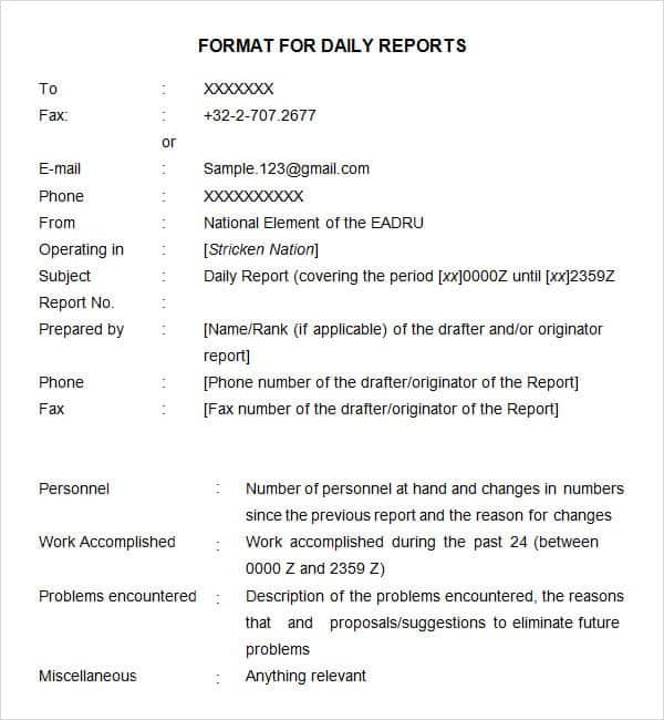 Daily Report Image 10  Daily Report Format