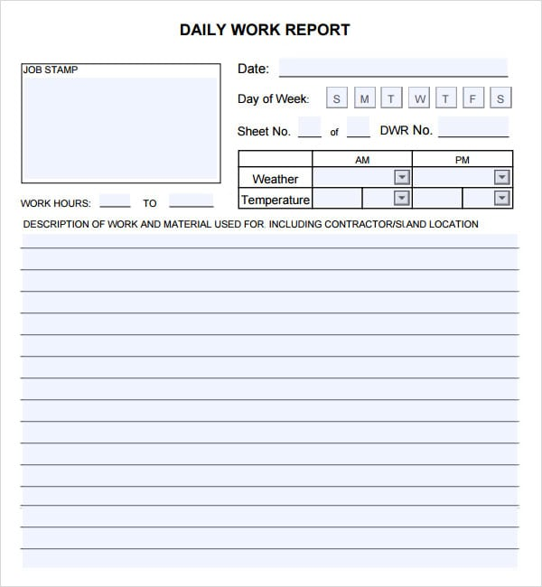 Superb Construction Daily Report And Daily Job Report Template
