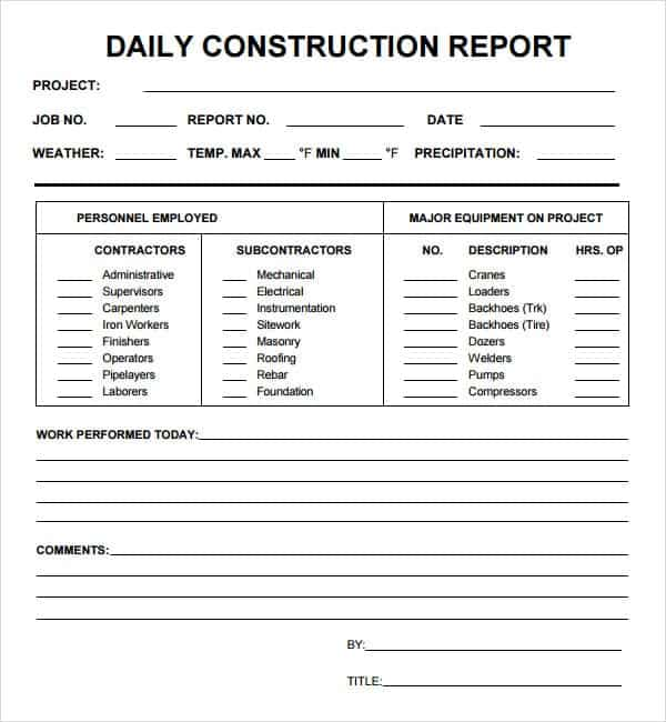 10 Daily report templates Word Excel PDF Formats – Construction Report Template