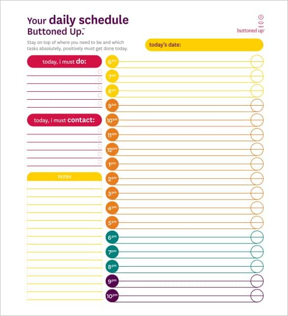 free schedule template word