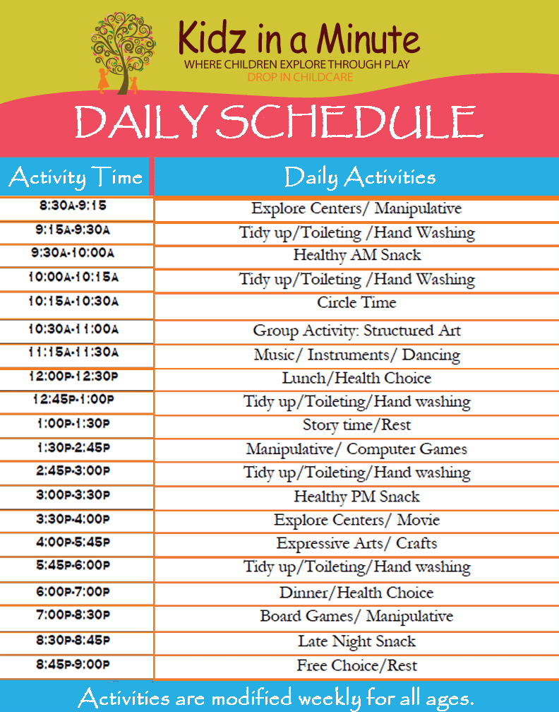 11+ Daily schedule templates - Word Excel PDF Formats
