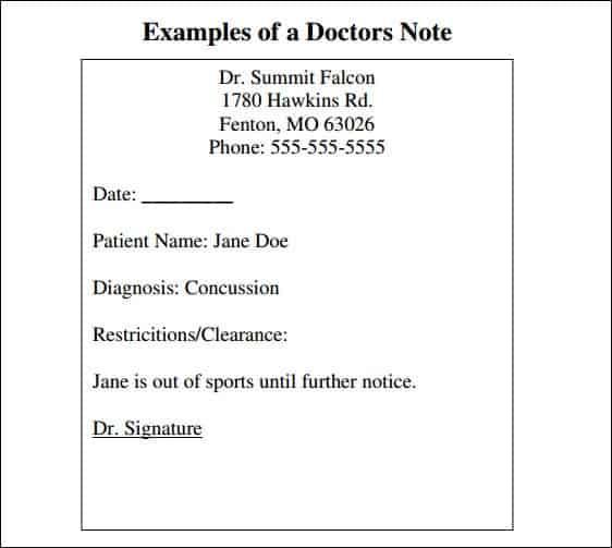 doctors note template word
