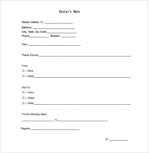9+ Doctor note templates - Word Excel PDF Formats