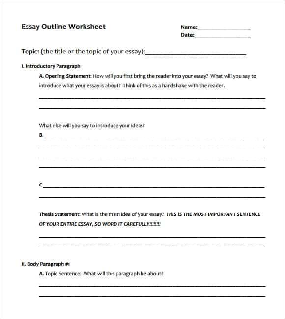 9+ Essay outline templates - Word Excel PDF Formats