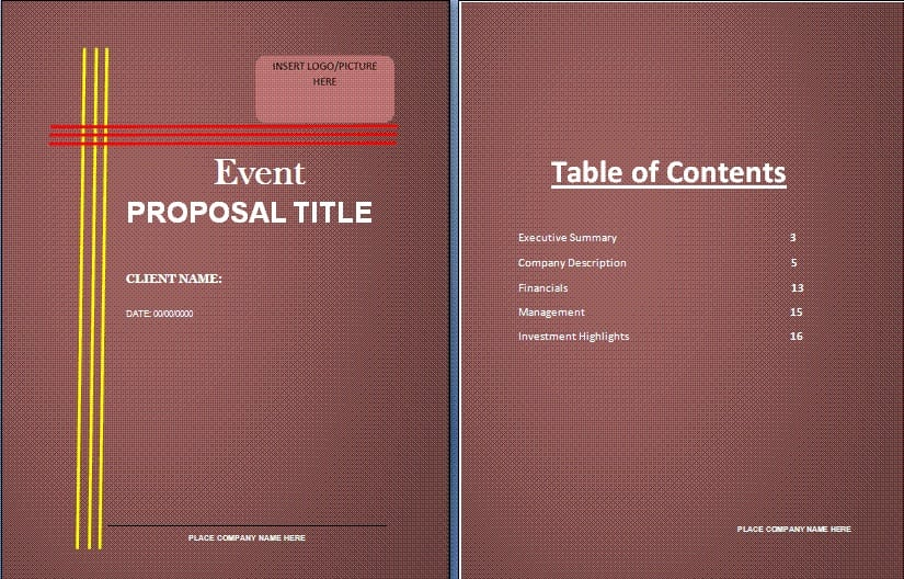 Event Proposal Sample Templates Word Excel Pdf Formats