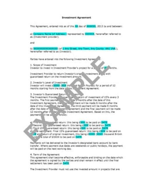 Investment Contract Templates  Word Excel Pdf Formats