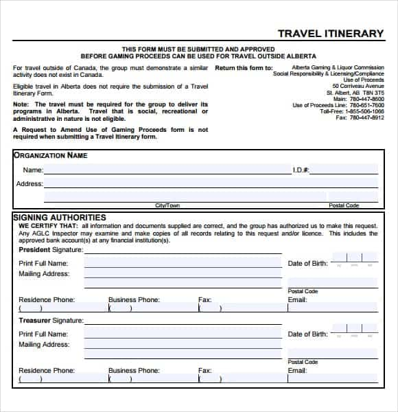 Business Travel Itinerary Example