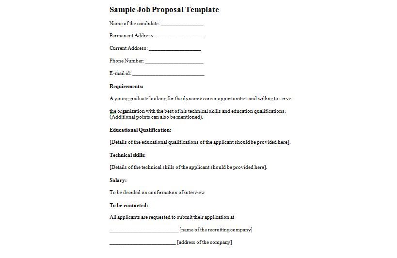 5 Job proposal templates Word Excel PDF Formats